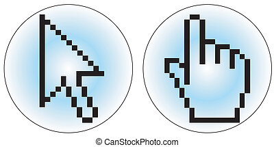 Computer cursor icons - a hand and arrow cursor