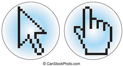 Computer cursor icons - a hand and arrow cursor