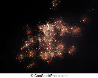 Firework explosion - Colourful fireworks exploding in the...