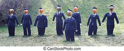 Pumpkin people - businessmen in suits