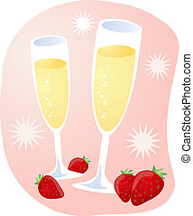 Champagne and strawberries - Romantic celebration with...