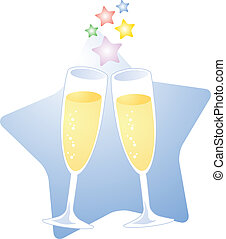 Champagne toast - A starry toast with champagne; two glasses...