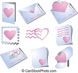 Romance correspondence icons, feature hearts and the mail...