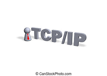 tcp/ip - TCP/IP text in 3d and play figure with red tie