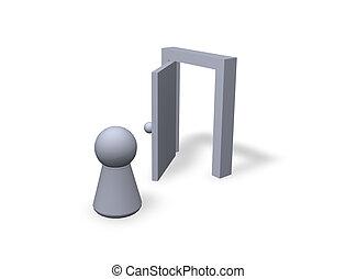 come in - play figure and  open door