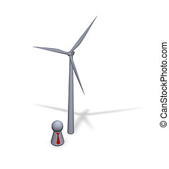 windpower - wind turbine and play figure with red tie
