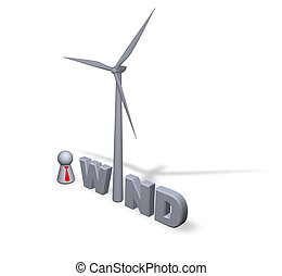 wind power - wind text in 3d, wind turbine and play figure...