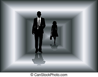 business tunnel - Two business people walking through a...