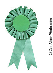 Green Ribbon - Green award type ribbon isolated on a white...