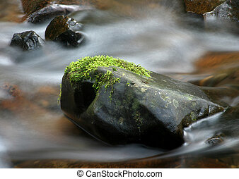 Stream and Rocks - Photo of rushing water and mossy rock.