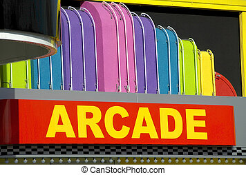 Arcade - Brightly colored arcade entrance sign