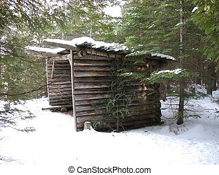 Winter Shelter - Log shelter on a trail in the Marlborough...