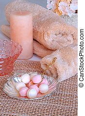 Spa Therapy Indulgences - scented soaps, candles and fluffy...