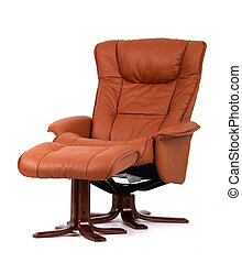 Brown recliner with footstool - Brown leather recliner chair...