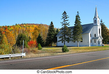 Church on road side in Michigans upper peninsula