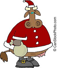 Santa Cow - This illustration depicts a cow dressed as Santa...
