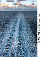 Ocean Wake - A path of ocean wake streching to the horizion