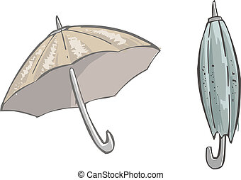 umbrella - two umbrellas, open and closed