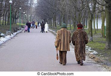Two women in furs walking in the park