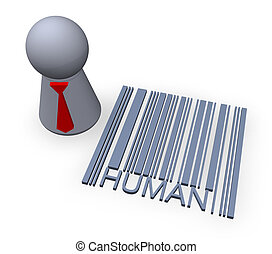 barcode human - play figure with red tie and 3d barcode...