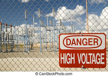 High Voltage Sign - Electrical substation with High Voltage...