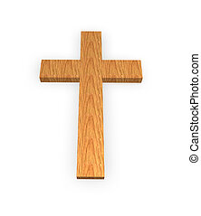 holy cross - wooden cross on a white background