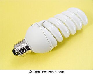An energy efficient bulb on yellow background