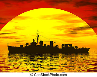 Battleship - A battleship during sunset in the south seas.