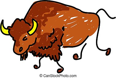 buffalo - a buffalo isolated on white drawn in toddler art...