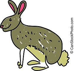 hare - a hare isolated on white drawn in toddler art style