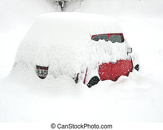 Red car under snow