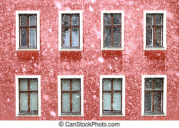 Snow on red house - Red house in Vienna gets a lot of snow
