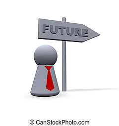 future - play figure with red tie and sign to future