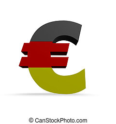 german euro - euro symbol in german colors