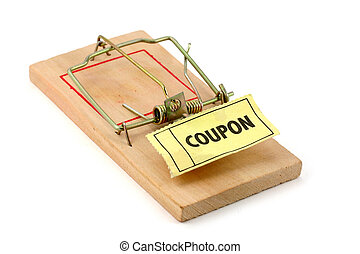 shopping trap - coupon and Mousetrap, concept of shopping...