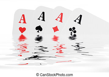 Aces - Playing cards are reflecting in the water