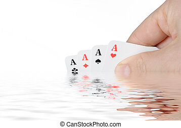 Yes... - Playing cards are reflecting in the water