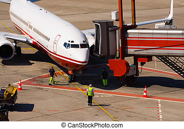 airplane arrival - Arrival of an airplane. Preparation for...