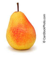 Pear - One ripe pear on white w clipping path