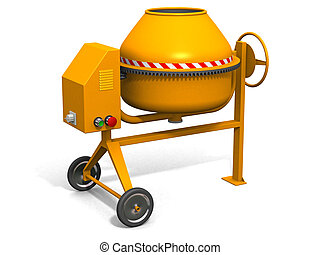 Concrete mixer - Yellow concrete mixer on white 3d render, w...