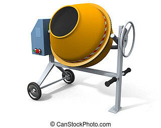 Concrete mixer on white 3d render, w clipping path
