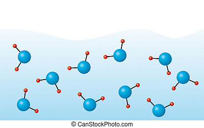Water molecules - Illustration of water molecules (w precise...