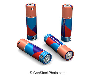 Four AA Batteries - Four R6 size AA batteries (3d render)