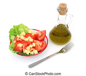 Salad - Far view of a vegetarian food and olive oil