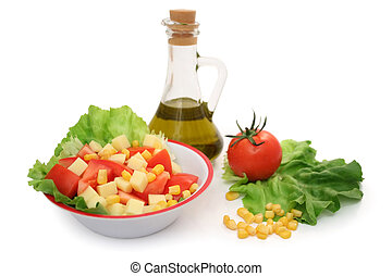 Salad - A plate of salad and its ingredients
