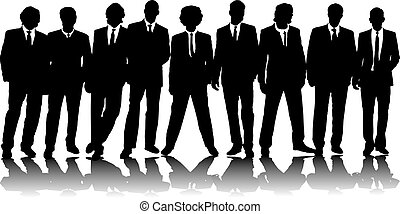 office people group - A group of nine business people in...