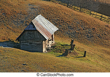 Wooden house on the hill - Old wooden house on the hill,...