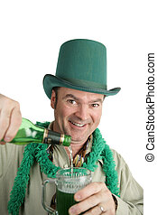 Have a Cold One - A handsome Irish American man pouring...