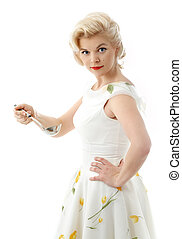 lovely housewife with scoop in retro style