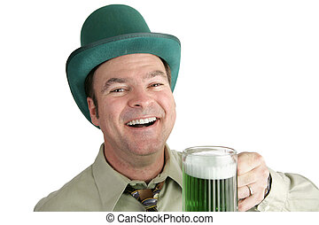 St Patricks Day Fun - A handsome Irish man enjoying green...